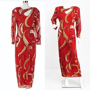VINTAGE 1980'S RED SILK FULLY BEADED EVENING GOWN